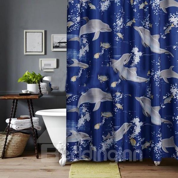 Lovely Dolphin Spindrift Print Chinlon Shower Curtain