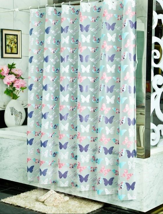Roamntic Colorful Butterflies Print PEVA Shower Curtain
