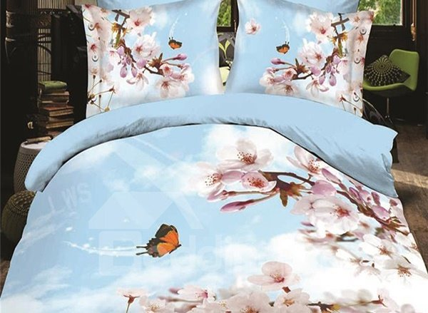 Butterfly Flying to the Flowers Print 4-Piece Polyester Duvet Covet Sets