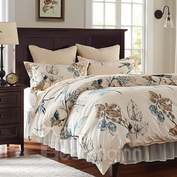 60 rural flower and birds print 4piece cotton duvet cover sets
