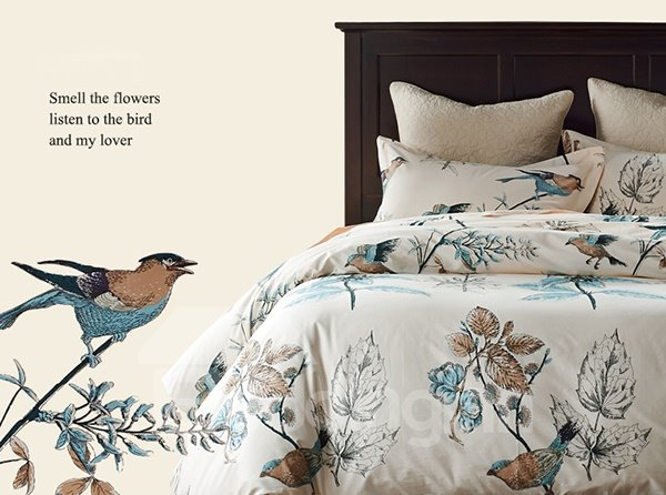 Rural Flower and Birds Print 4-Piece Cotton Bedding Sets/Duvet Cover