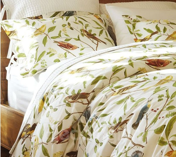 Soft Country Spring Birds and Flowers Print 4-Piece Cotton Duvet Cover Sets