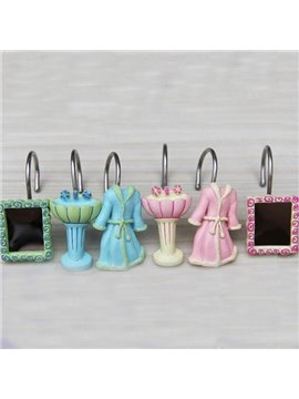 Creative Robe Mirror Wash Basin Image Shower Curtain Hooks