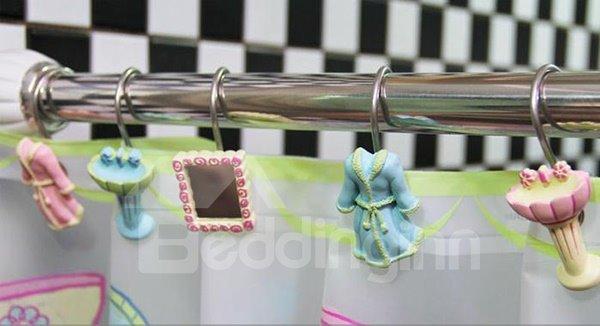 Creative Robe Mirror Wash Basin Image Shower Curtain Hooks