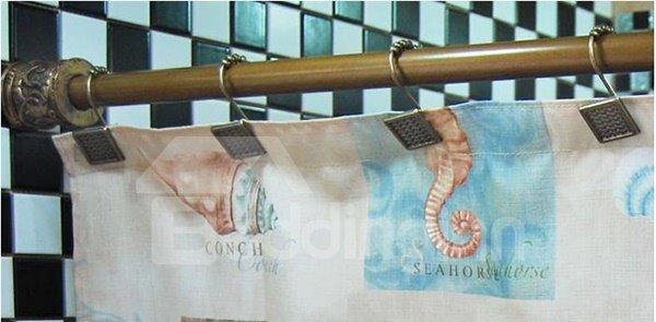 Retro Wave Design Iron Shower Curtain Hooks