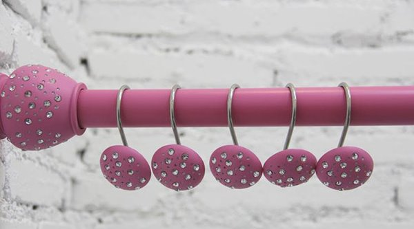 Beautiful Pink Diamond Image Shower Curtain Hooks