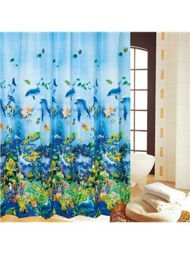 Charming Ocean World Print PEVA Shower Curtain