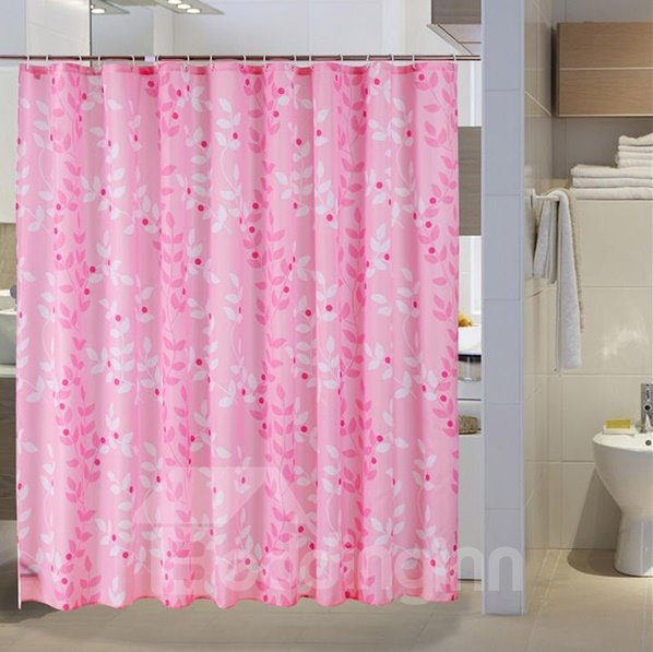 Romantic Sweet Leaves Print Pink Shower Curtain
