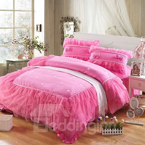 Hot Selling Pink Lace Pattern 4-Piece Cotton Princess Duvet Cover Sets