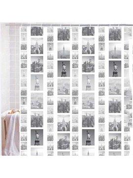 Stylish New York Buildings Print Shower Curtain