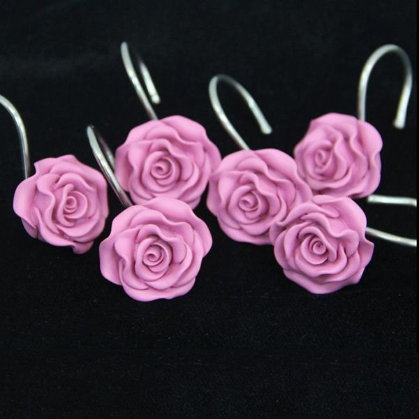 Romantic Sweet Pink Rose 12-pieces Shower Curtain Hooks ...