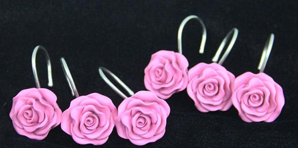 Romantic Sweet Pink Rose 12-pieces Shower Curtain Hooks