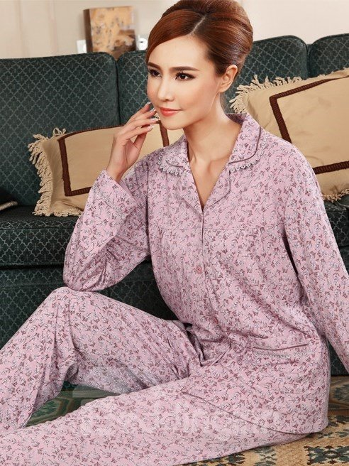 Romantic Purple Floral Pattern Long Sleeves Pajama