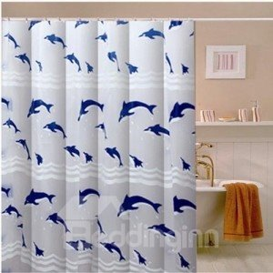 Environmental Lovely Jumping Dolphin Print Shower Curtain