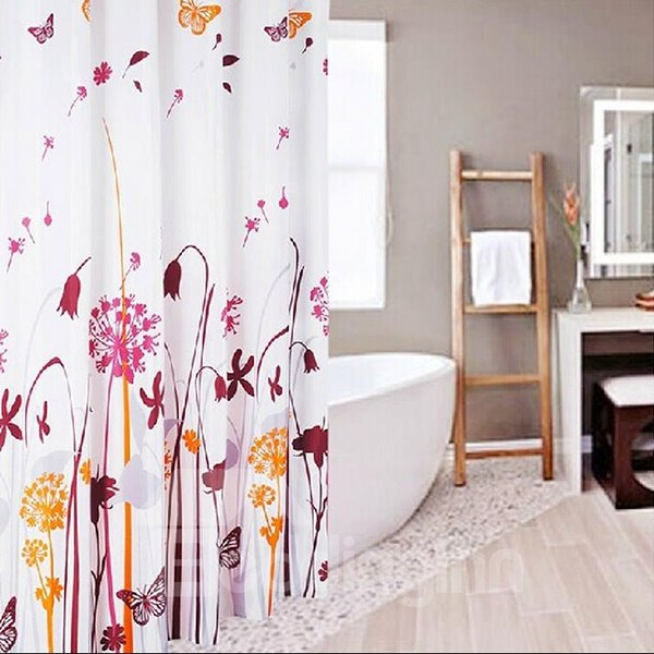 Romantic Dandelion Butterfly Print Polyester Shower Curtain