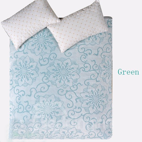 Carving Peony Flowers Pattern Thick Flannel Soft Sheet Blanket