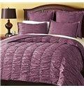 Solid Violet Wrinkle Style Cotton 4-Piece Falbala Duvet Cover Sets