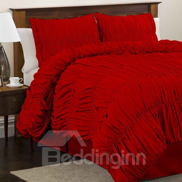 Gorgeous Bright Red Satin 4-Piece Duvet Cover Sets