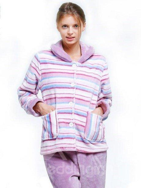 Comfy Flannel Straps Buttoned Women Pajamas Set