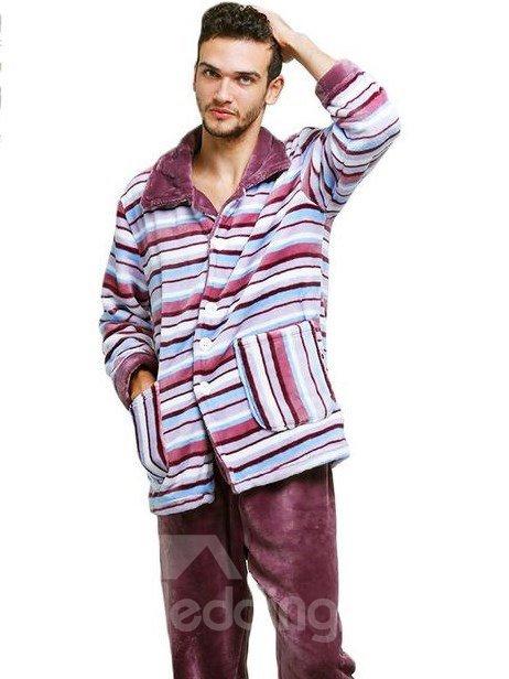 Comfy Flannel Straps Buttoned Men Pajamas Set
