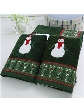 Cheery Christmas Snowman Soft Cotton 3-piece Towel