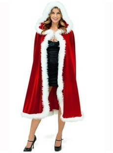 High Quality Fur Edged Red Christmas Women Cape