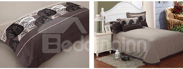 Noble Elegant Leaves Print 4-Piece Duvet Cover Sets