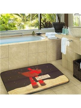 Soft Christmas Deer Print Environmental Rubber Bath Rug