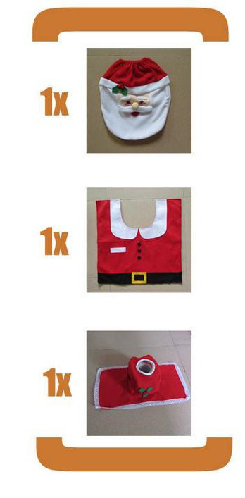 Santa Claus Pattern 3-Piece Toilet Seat Cover and Rug Sets