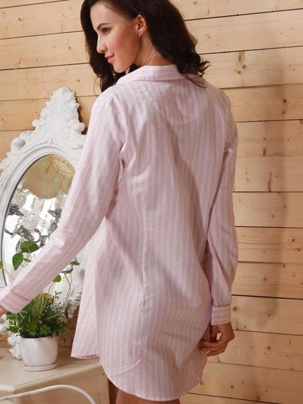 Comfy Cotton Pink Strap Buttoned Notched Collar Sleepshirt