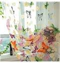 Decoration Beautiful Butterflies Printing Romantic Style Blending Grommet Top 2 Panels Sheer Curtain