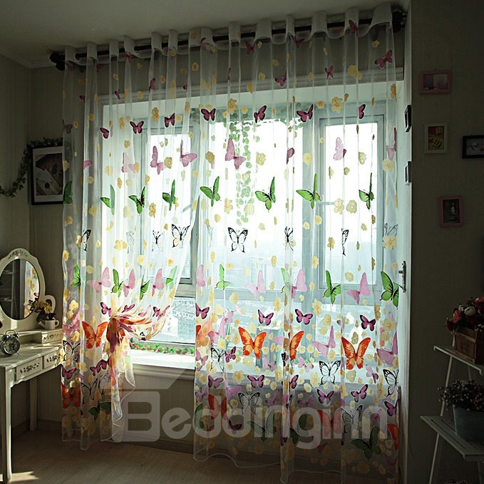 Decoration Beautiful Butterflies Printing Romantic Style Blending Grommet Top 2 Panels Sheer Curtain