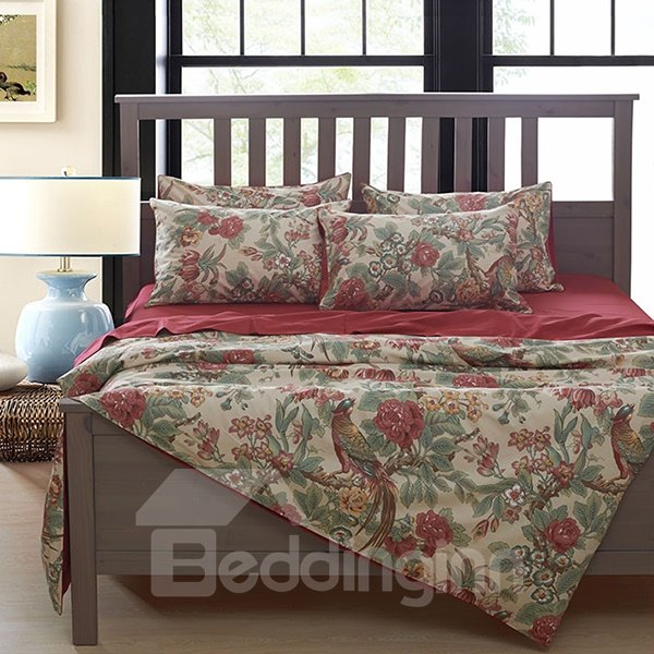 Chickadee and Flower Print 4-Piece Egypt Long-Staple Cotton Duvet Cover Sets