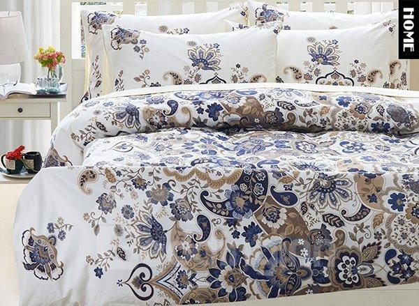 Top Class Beautiful Floral Print 4-Piece Natural Egypt Long-Staple Cotton Duvet Cover Sets