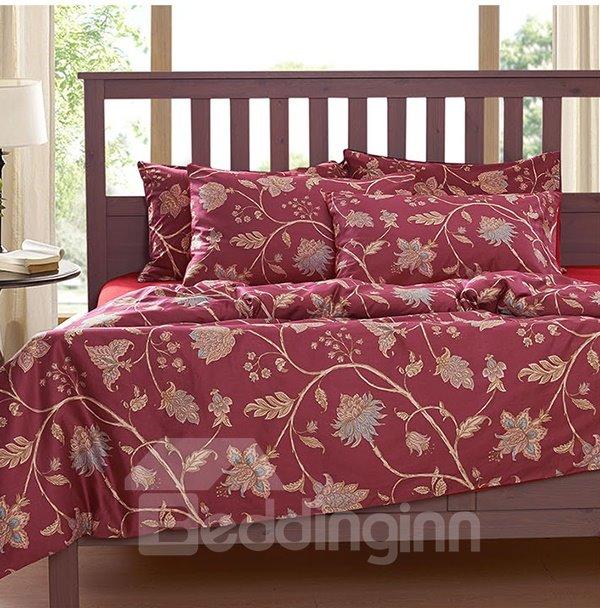 Elegant Floral Print 4-Piece Natural Cotton Duvet Cover Sets