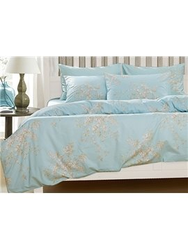 Elegant Fresh Floral Print 4-Piece Natural Cotton Duvet Cover Sets