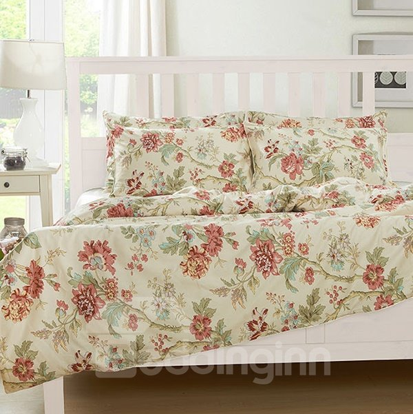 Luxuriant Wild Flower Print 4-Piece Natural Cotton Duvet Cover Sets