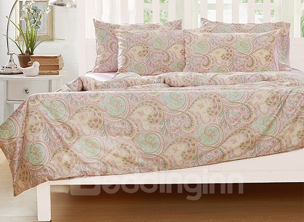 Graceful Cirrus Print 4-Piece Natural Cotton Duvet Cover Sets