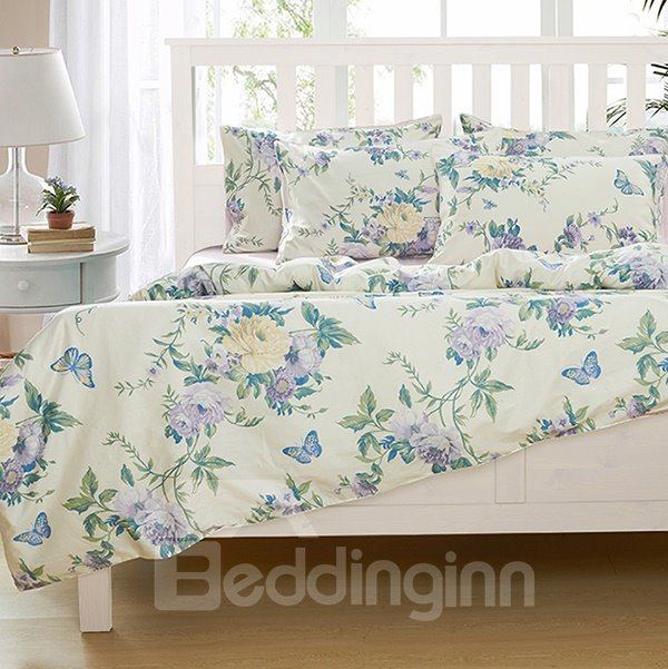 Fascinating Flowers and Butterflies Pattern 4-Piece Natural Cotton Duvet Cover Sets