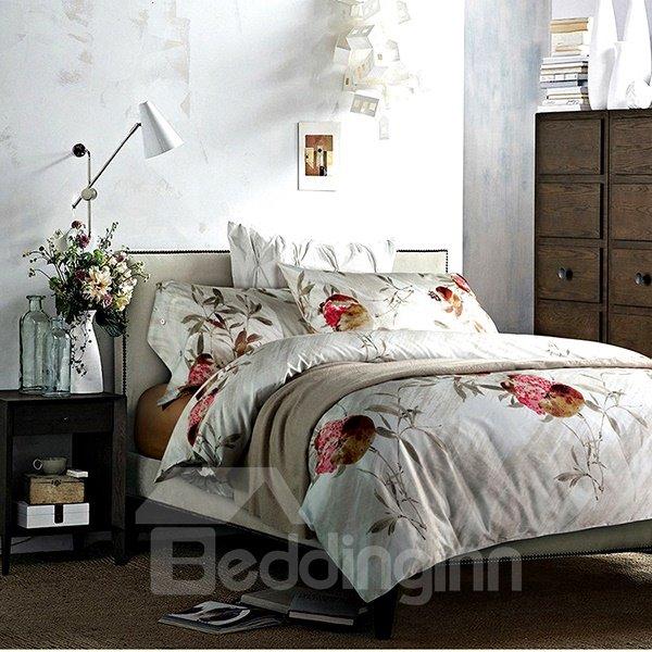 Attractive Pomegranate Print 4-Piece Long Stapled Cotton Duvet Cover Sets