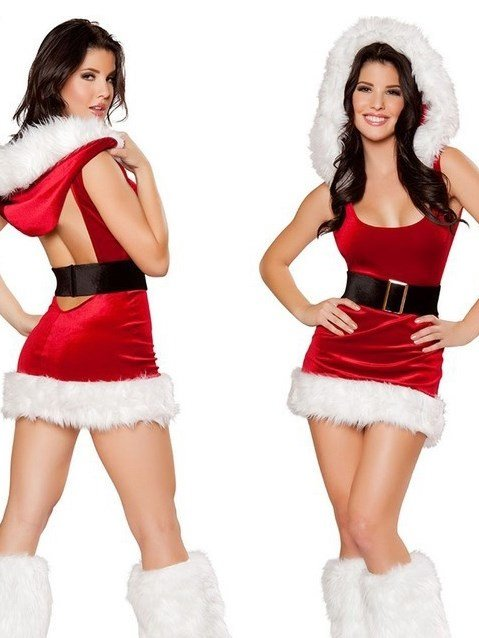 Sexy Mini Skirt Belted Christmas Costume