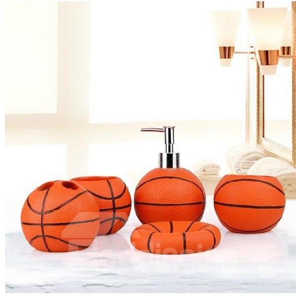 Unique Fashion Basketball Shaped 5-Pieces Bathroom Accessories