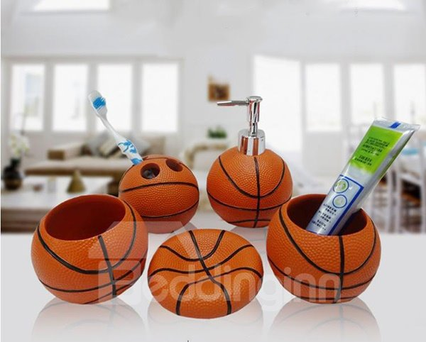 Merveilleux ... Unique Fashion Basketball Shaped 5 Pieces Bathroom Accessories ...