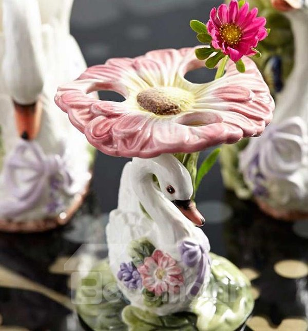 ... Romantic Swan Floral Ceramic 6 Piece Bathroom Accessories ...