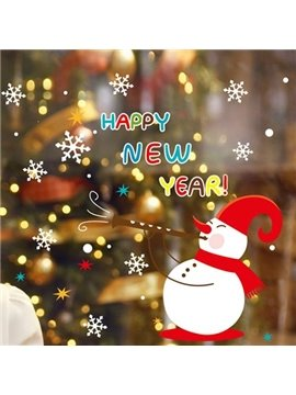 Wonderful 1-Piece Christmas Snowflake and Snowman Wall Stickers