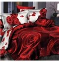 3D Red Roses Printed Cotton 4-Piece Full Size Bedding Sets/Duvet Covers