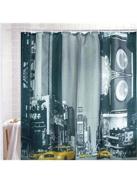 European Taxi Street Scene Print Shower Curtain