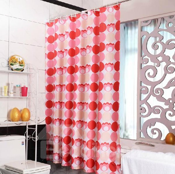 Wonderful Red Circle Print Polyester Shower Curtain