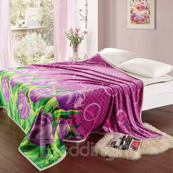 Amazing Beautiful Violet Pattern Ultra Comfortable Coral Blanket
