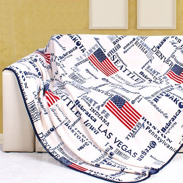 Flag of United States and Letters Pattern Ultra Comfortable White Blanket